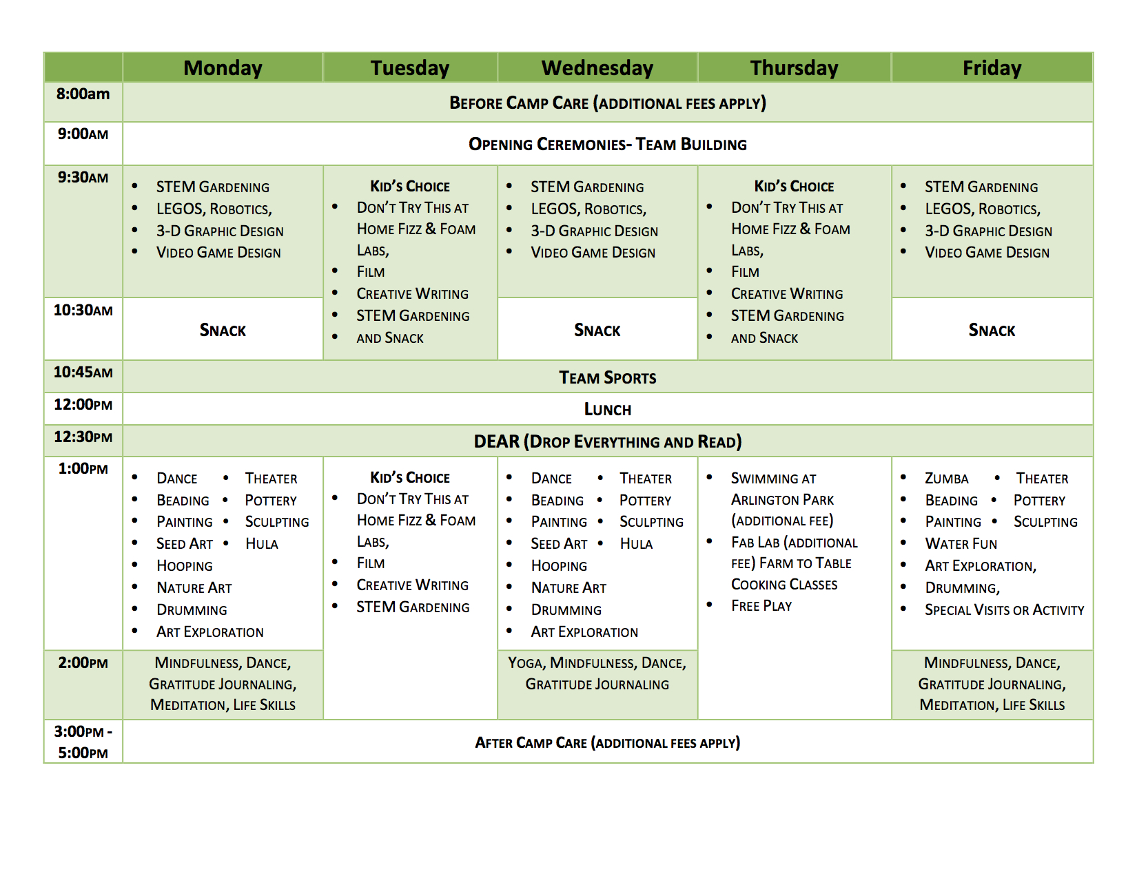 Day Camp Weekly Schedule Template Pictures To Pin On